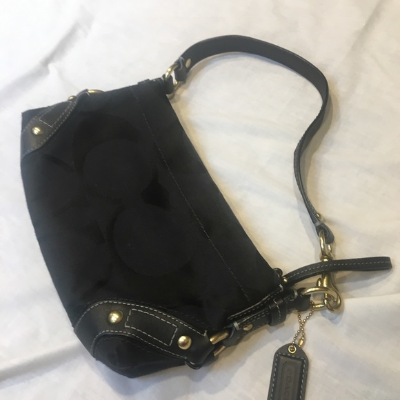 Coach Handbags - NWOT Coach Black Leather and Canvas Purse
